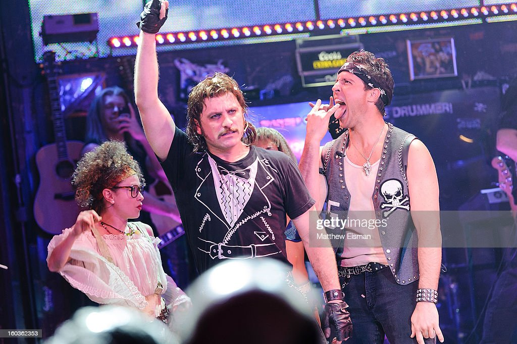 Mark Teixeira (R) #25 of the New York Yankees makes his broadway debut in a walk-on role at 'Rock Of Ages' on Broadway at Helen Hayes Theatre on January 29, 2013 in New York City.