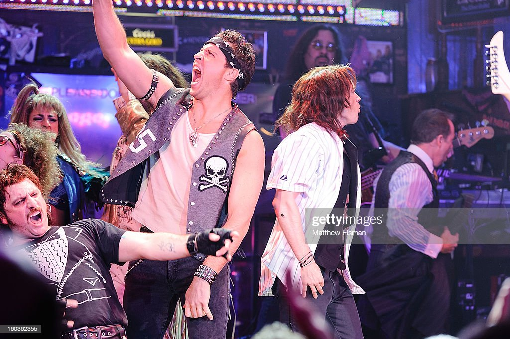 Mark Teixeira (C) #25 of the New York Yankees makes his broadway debut in a walk-on role at 'Rock Of Ages' on Broadway at Helen Hayes Theatre on January 29, 2013 in New York City.