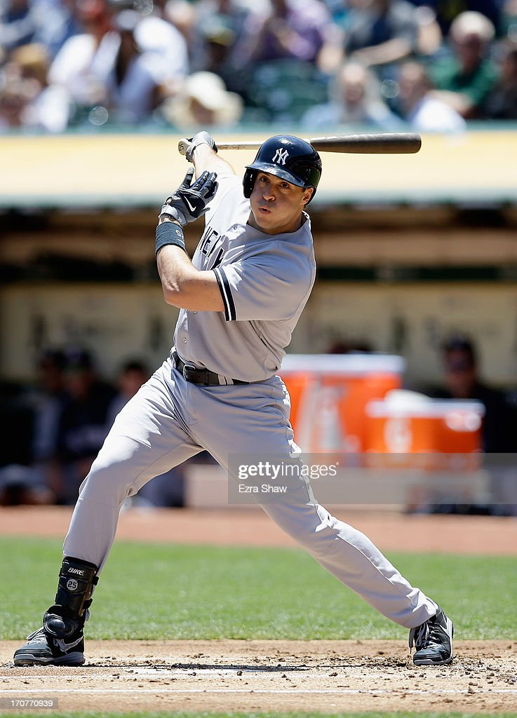 <a gi-track='captionPersonalityLinkClicked' href=/galleries/search?phrase=Mark+Teixeira&family=editorial&specificpeople=209239 ng-click='$event.stopPropagation()'>Mark Teixeira</a> #25 of the New York Yankees bats against the Oakland Athletics at O.co Coliseum on June 13, 2013 in Oakland, California.