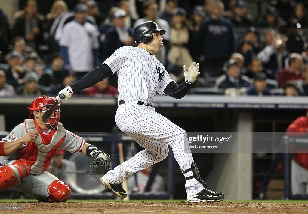 <a gi-track='captionPersonalityLinkClicked' href=/galleries/search?phrase=Mark+Teixeira&family=editorial&specificpeople=209239 ng-click='$event.stopPropagation()'>Mark Teixeira</a> #25 of the New York Yankees bats against the Philadelphia Phillies in Game Six of the 2009 MLB World Series at Yankee Stadium on November 4, 2009 in the Bronx borough of New York City.