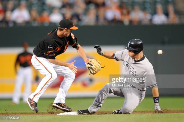 Mark Teixeira of the New York Yankees beats out a throw to JJ Hardy of the Baltimore Orioles at second base during the first inning of a baseball...