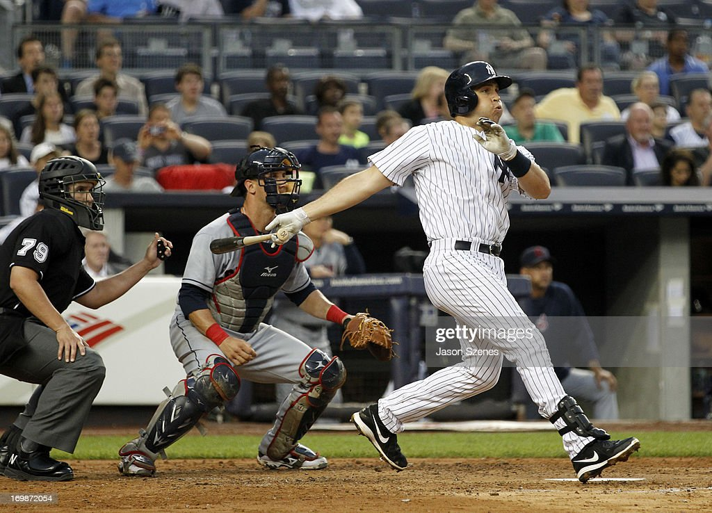 Mark Teixeira #25 of the New York Yankees connects on a grand slam against the Cleveland Indians in the third inning at Yankees Stadium on June 3, 2013 in the Bronx borough of New York City. (Photo by Jason Szenes/Getty Images