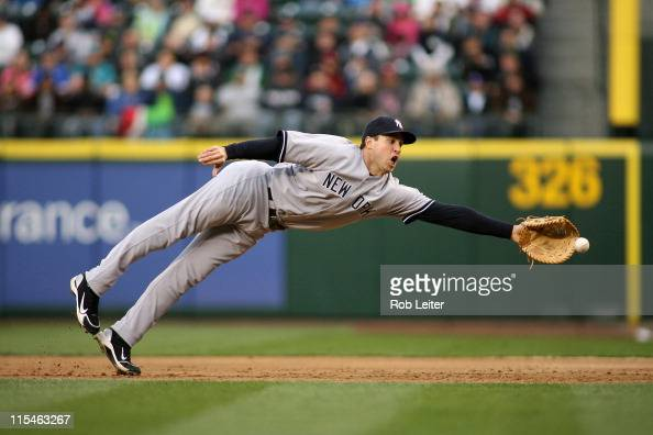 Mark Teixeira of the New York Yankees dives for a ball during the game against the Seattle Mariners at Safeco Field on May 28 2011 in Seattle...