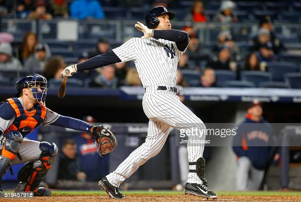 Mark Teixeira of the New York Yankees follows through on his third inning three run home run against the Houston Astros at Yankee Stadium on April 6...