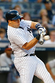 Mark Teixeira of the New York Yankees in action against the Houston Astros at Yankee Stadium on August 19 2014 in the Bronx borough of New York City...