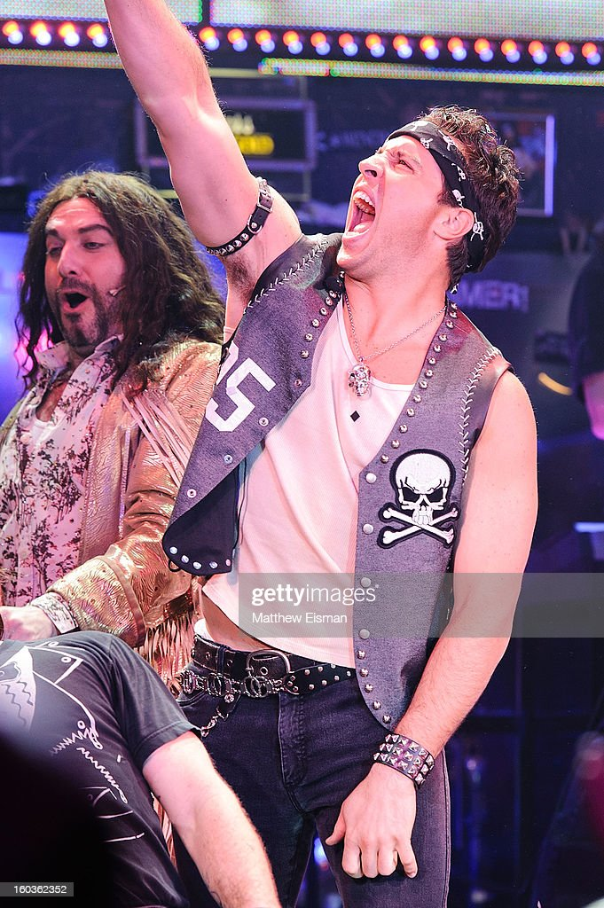 Mark Teixeira #25 of the New York Yankees makes his broadway debut in a walk-on role at 'Rock Of Ages' on Broadway at Helen Hayes Theatre on January 29, 2013 in New York City.