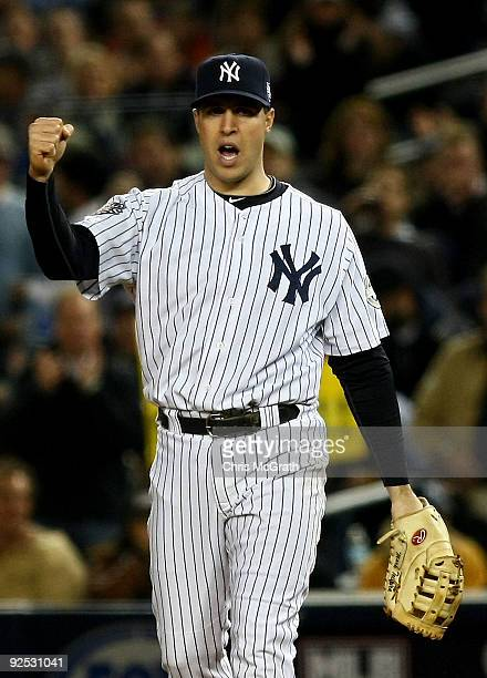 Mark Teixeira of the New York Yankees reacts after a pick off play at first base against the Philadelphia Phillies in Game Two of the 2009 MLB World...