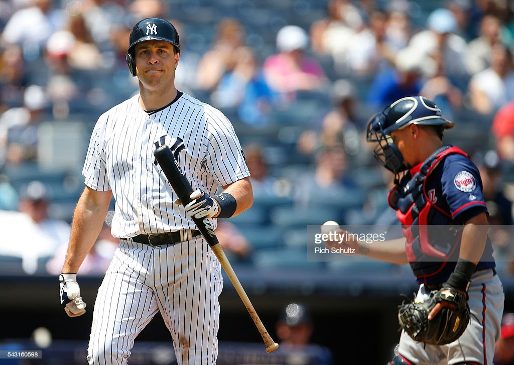 Mark Teixeira #25 of the New York Yankees reacts to striking out against the Minnesota Twins in the fifth inning of a game at Yankee Stadium on June 26, 2016 in the Bronx borough of New York City.