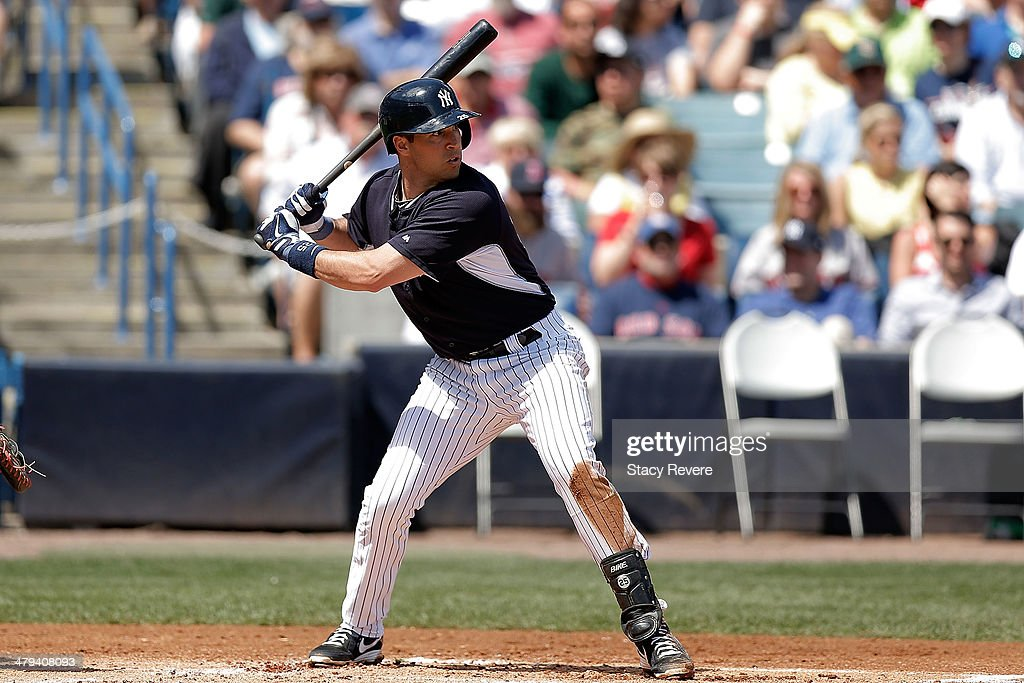 <a gi-track='captionPersonalityLinkClicked' href=/galleries/search?phrase=Mark+Teixeira&family=editorial&specificpeople=209239 ng-click='$event.stopPropagation()'>Mark Teixeira</a> #25 of the New York Yankees waits for a pitch in the first inning of a game against the Boston Red Sox at George M. Steinbrenner Field on March 18, 2014 in Tampa, Florida.