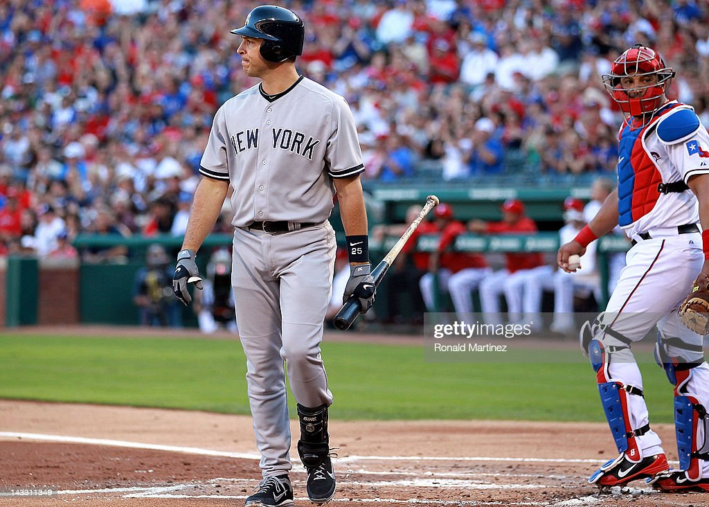 <a gi-track='captionPersonalityLinkClicked' href=/galleries/search?phrase=Mark+Teixeira&family=editorial&specificpeople=209239 ng-click='$event.stopPropagation()'>Mark Teixeira</a> #25 of the New York Yankees walks to the dugout after a strike out against the Texas Rangers at Rangers Ballpark in Arlington on April 23, 2012 in Arlington, Texas.