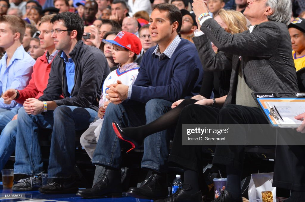 Mark Teixeira #25 of the New York Yankees watches the game between the Los Angeles Lakers and Philadelphia 76ers at the Wells Fargo Center on December 16, 2012 in Philadelphia, Pennsylvania.