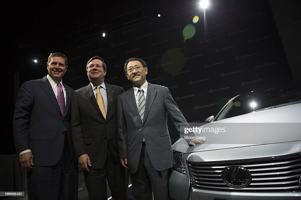 Mark Templin, managing officer of Toyota Motor Corp. and executive vice president of Lexus International, from left, Jim Lentz, president and chief operating officer of Toyota Motor Corp.'s U.S. sales unit, and Akio Toyoda, president of Toyota Motor Corp., stand for a photograph in New York, U.S., on Friday, April 19, 2013. Toyota Motor Corp. plans to build Lexus ES 350 sedans in Kentucky, the first U.S. production for its luxury brand, as Toyoda pushes to localize output in the automaker's biggest markets. Photographer: Scott Eells/Bloomberg via Getty Images