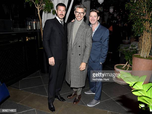 Mark Tevis and Eddie Roche of The Daily Front Row pose with stylist Eric Rutherford at The Daily Front Row's celebration of the 10th Anniversary of...