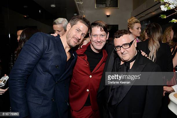 Mark Tevis Eddie Roche and Alber Elbaz attend The Daily Front Row Fashion Los Angeles Awards Private Dinner Hosted By Eva Chow And Carine Roitfeld at...