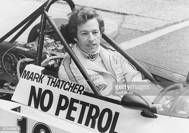 Mark Thatcher son of British Prime Minister Margaret Thatcher pictured at the wheel of a no petrol prototype Formula Talbot car November 1st 1979