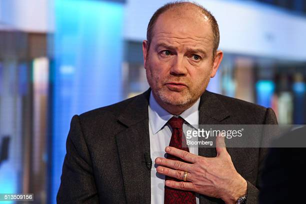 Mark Thompson president and chief executive officer of New York Times Co speaks during a Bloomberg Television interview in New York US on Thursday...