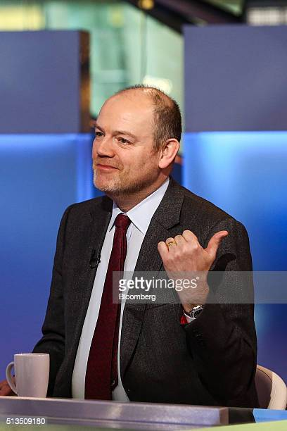 Mark Thompson president and chief executive officer of New York Times Co gestures during a Bloomberg Television interview in New York US on Thursday...