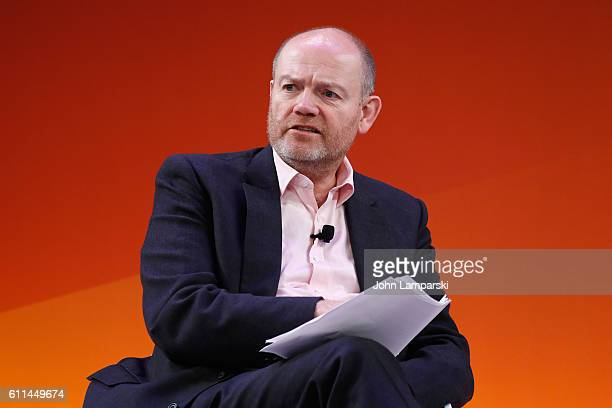 Mark Thompson speaks onstage at the Fireside with the New York Times talk on the Times Center Stage during 2016 Advertising Week New York on...