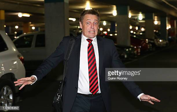 Mark Thompson the assistant coach of the Bombers arrives at the Essendon Bombers AFL Commission Hearing at AFL House on August 26 2013 in Melbourne...