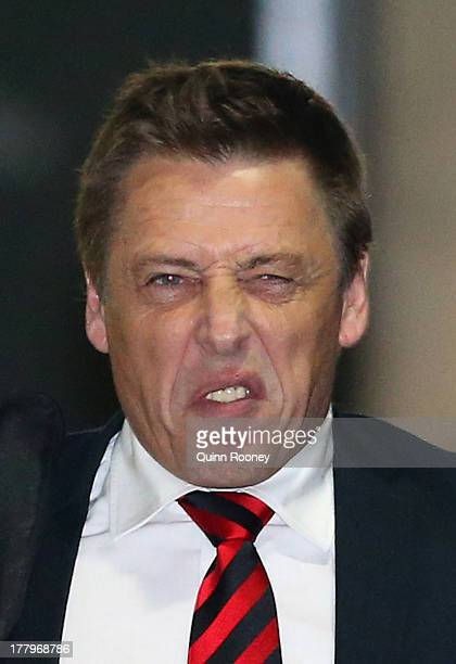 Mark Thompson the assistant coach of the Bombers leaves the Essendon Bombers AFL Commission Hearing at AFL House on August 26 2013 in Melbourne...