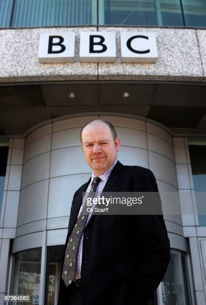 Mark Thompson the director General of the BBC gives a television interview outside BBC Television Centre on March 2 2010 in London England The...