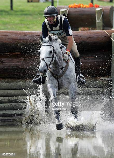 Mark Todd enters the water jump during the showjumping on day two of the Puhinui Horse Trials March 15 2008 in Manukau New Zealand
