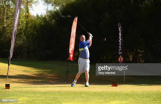 Mark Treacey of Lombard plays his first shot on the 1st tee during The Lombard Trophy Final Day One on September 21 2017 in Albufeira Portugal