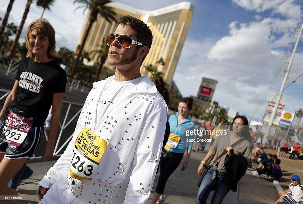 Mark Treadway dresses up as Elvis Presley before running the Zappos.com Rock 'n' Roll Las Vegas Marathon on December 2, 2012 in Las Vegas, Nevada.