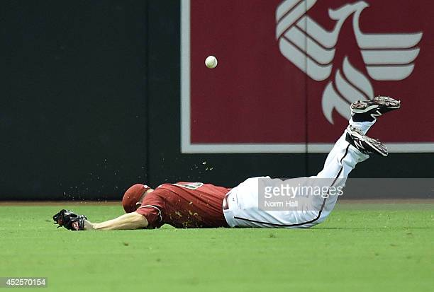Mark Trumbo of the Arizona Diamondbacks takes a tumble face first with a diving catch during the fourth inning against the Detroit Tigers at Chase...