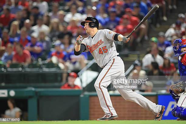Mark Trumbo of the Baltimore Orioles at Globe Life Park in Arlington on April 16 2016 in Arlington Texas