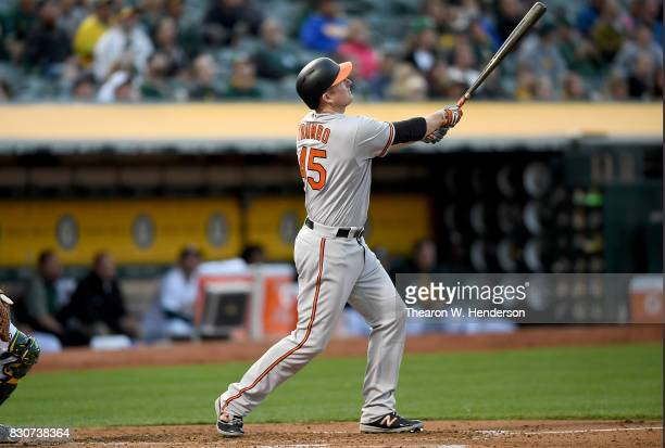 Mark Trumbo of the Baltimore Orioles bats against the Oakland Athletics in the top of the second inning at Oakland Alameda Coliseum on August 10 2017...