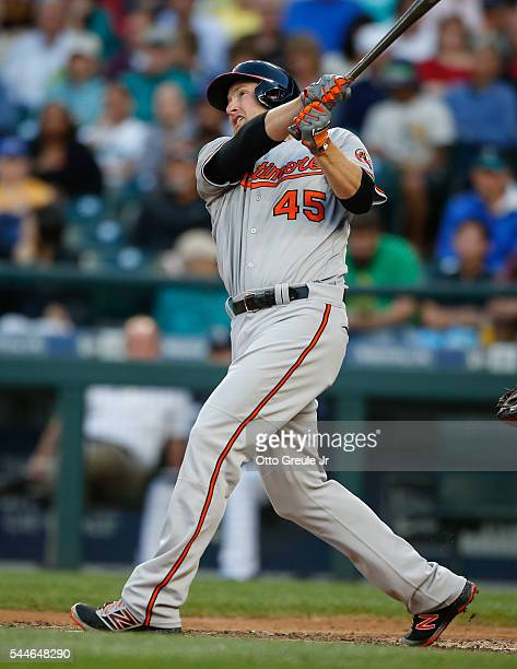 Mark Trumbo of the Baltimore Orioles bats against the Seattle Mariners at Safeco Field on June 30 2016 in Seattle Washington