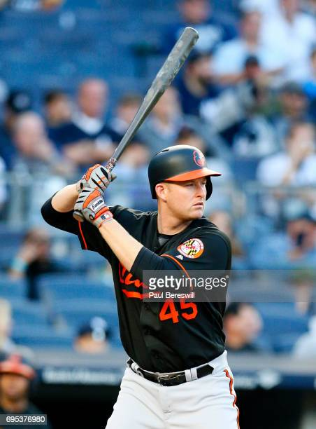 Mark Trumbo of the Baltimore Orioles bats in an MLB baseball game against the New York Yankees on June 9 2017 at Yankee Stadium in the Bronx borough...