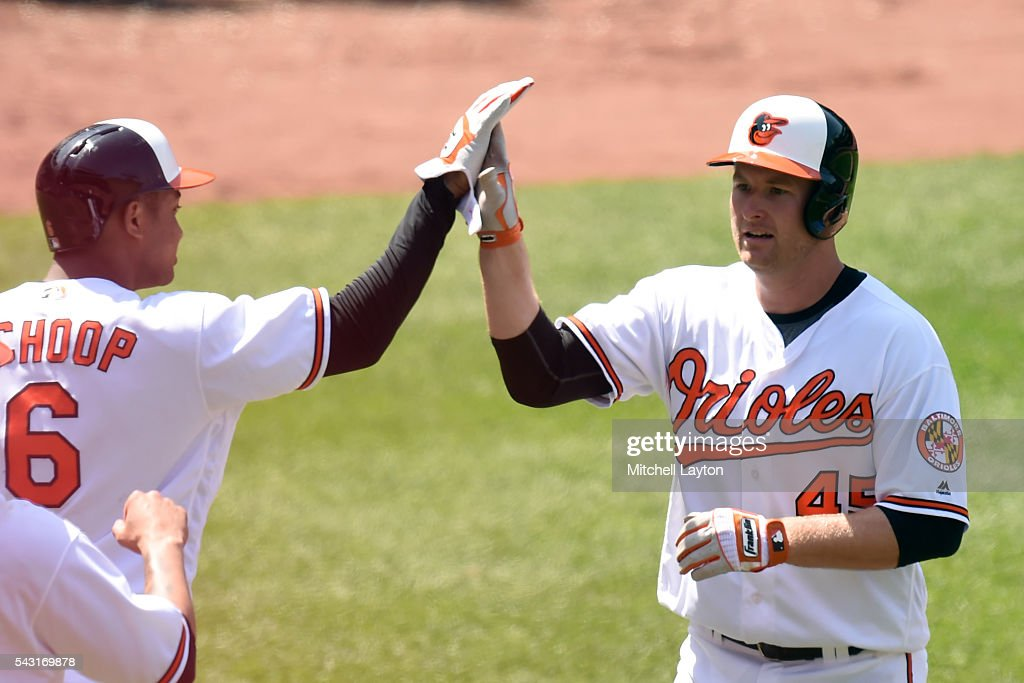 <a gi-track='captionPersonalityLinkClicked' href=/galleries/search?phrase=Mark+Trumbo&family=editorial&specificpeople=4921667 ng-click='$event.stopPropagation()'>Mark Trumbo</a> #45 of the Baltimore Orioles celebrates two run home run with <a gi-track='captionPersonalityLinkClicked' href=/galleries/search?phrase=Jonathan+Schoop&family=editorial&specificpeople=2526897 ng-click='$event.stopPropagation()'>Jonathan Schoop</a> #6 in the fifth inning during a baseball game against the Tampa Bay Rays at Oriole Park at Camden Yards on June 26, 2016 in Baltimore, Maryland.