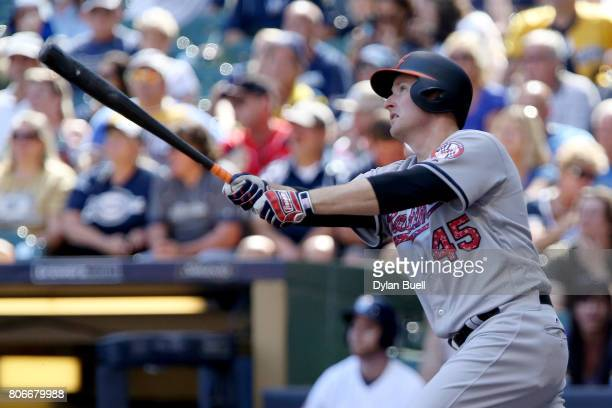 Mark Trumbo of the Baltimore Orioles flies out in the ninth inning against the Milwaukee Brewers at Miller Park on July 3 2017 in Milwaukee Wisconsin