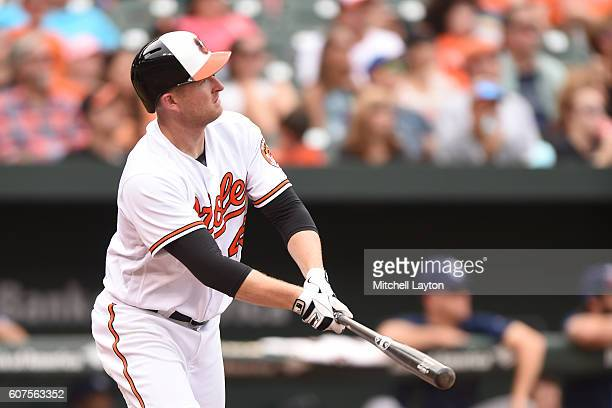 Mark Trumbo of the Baltimore Orioles hits a solo home run in the eighth inning during a baseball game against the against the Tampa Bay Rays at...