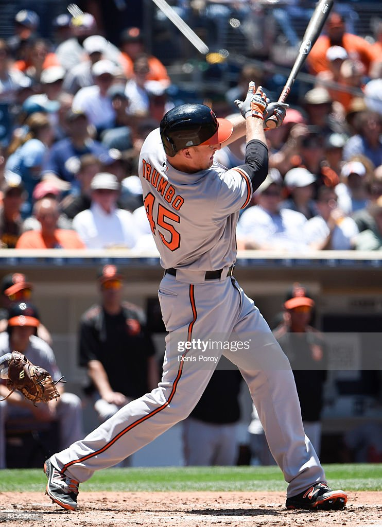 <a gi-track='captionPersonalityLinkClicked' href=/galleries/search?phrase=Mark+Trumbo&family=editorial&specificpeople=4921667 ng-click='$event.stopPropagation()'>Mark Trumbo</a> #45 of the Baltimore Orioles hits a two-run home run during the fourth inning of a baseball game against the San Diego Padres at PETCO Park on June 29, 2016 in San Diego, California.