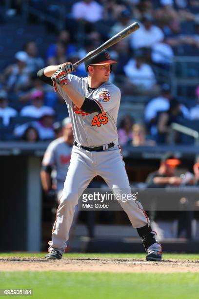 Mark Trumbo of the Baltimore Orioles in action against the New York Yankees at Yankee Stadium on June 11 2017 in the Bronx borough of New York City...