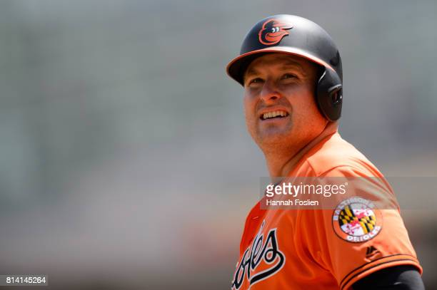 Mark Trumbo of the Baltimore Orioles looks on during the game against the Minnesota Twins on July 8 2017 at Target Field in Minneapolis Minnesota The...