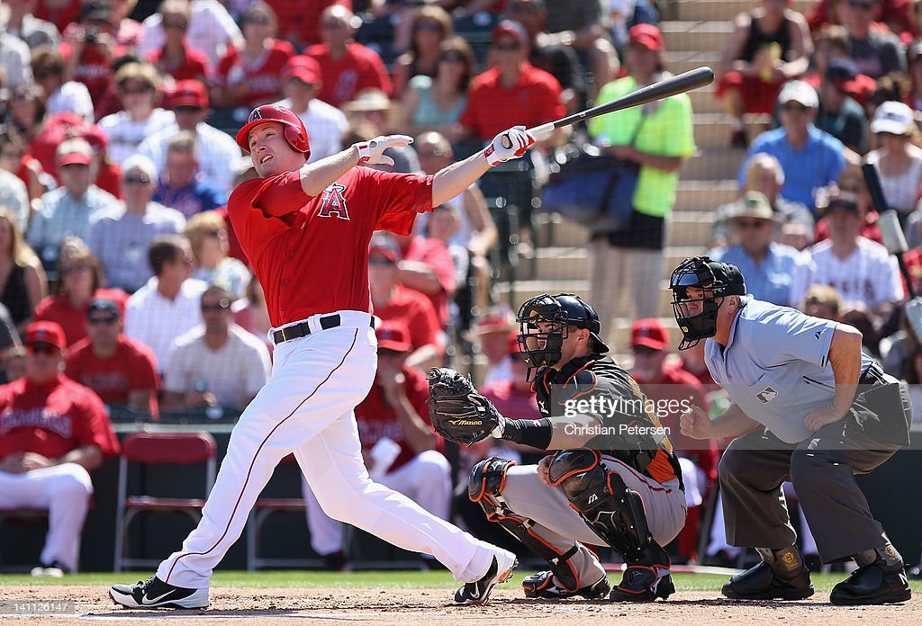<a gi-track='captionPersonalityLinkClicked' href=/galleries/search?phrase=Mark+Trumbo&family=editorial&specificpeople=4921667 ng-click='$event.stopPropagation()'>Mark Trumbo</a> #44 of the Los Angeles Angels of Anaheim bats against the San Francisco Giants during the spring training game at Tempe Diablo Stadium on March 10, 2012 in Tempe, Arizona.