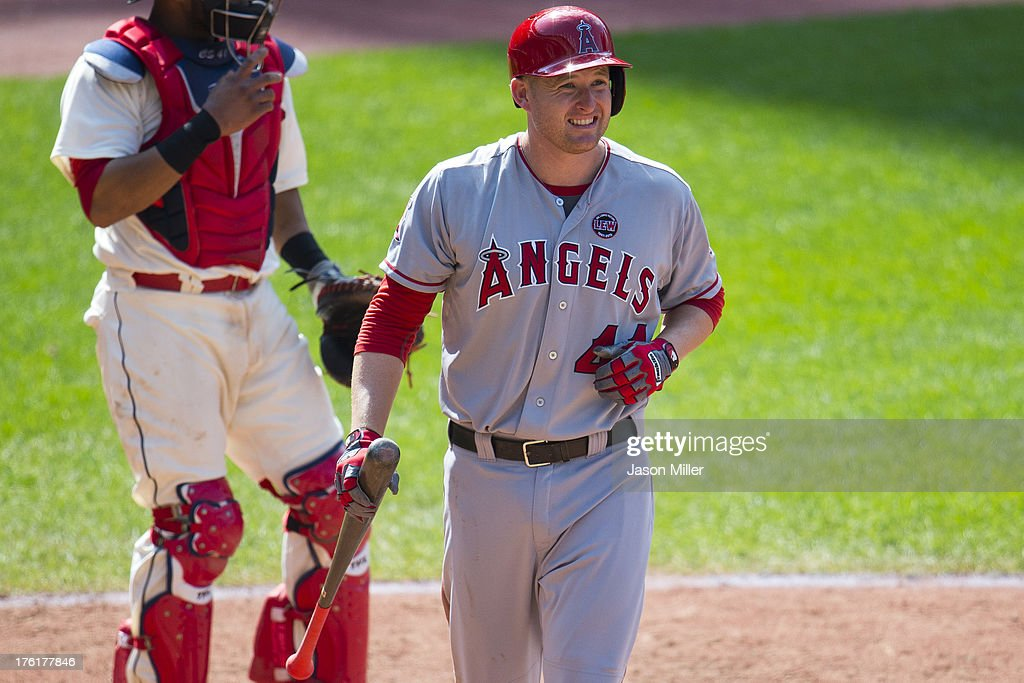 <a gi-track='captionPersonalityLinkClicked' href=/galleries/search?phrase=Mark+Trumbo&family=editorial&specificpeople=4921667 ng-click='$event.stopPropagation()'>Mark Trumbo</a> #44 of the Los Angeles Angels of Anaheim reacts after striking out during the ninth inning against the Cleveland Indians at Progressive Field on August 11, 2013 in Cleveland, Ohio. The Indians defeated the Angels 6-5.