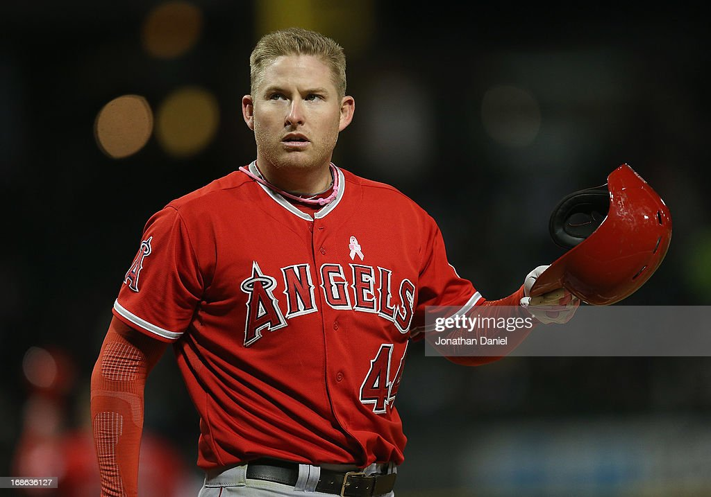Mark Trumbo #44 of the Los Angeles Angels reacts after striking out against Chris Sale of the Chicago White Sox of Anaheim at U.S. Cellular Field on May 12, 2013 in Chicago, Illinois.