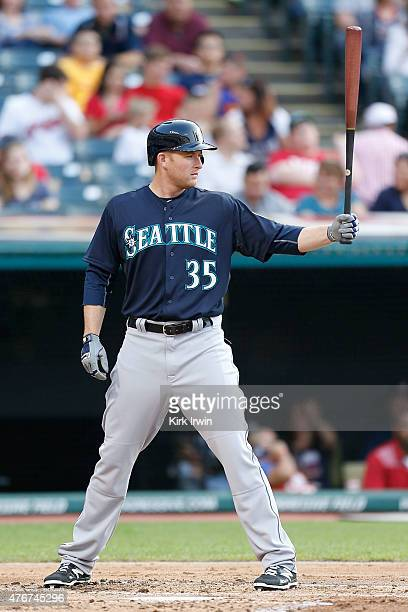 Mark Trumbo of the Seattle Mariners bats during the game against the Cleveland Indians at Progressive Field on June 9 2015 in Cleveland Ohio