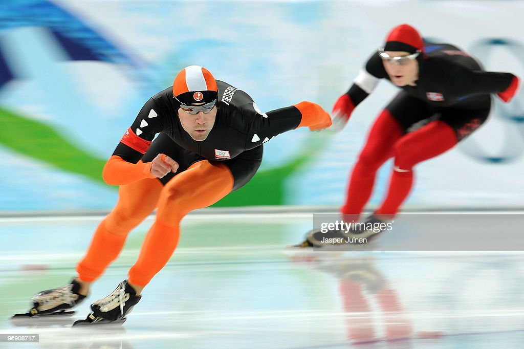 Mark Tuitert of Netherlands skates ahead of <a gi-track='captionPersonalityLinkClicked' href=/galleries/search?phrase=Havard+Bokko&family=editorial&specificpeople=725769 ng-click='$event.stopPropagation()'>Havard Bokko</a> of Norway in the men's speed skating 1500 m final on day 9 of the Vancouver 2010 Winter Olympics at Richmond Olympic Oval on February 20, 2010 in Vancouver, Canada.