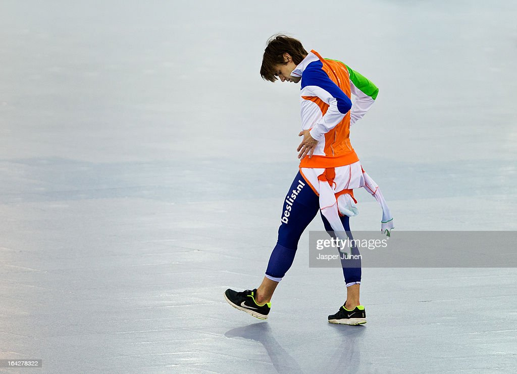 Mark Tuitert of the Netherlands walks away after falling during his 1000m race on day two of the Essent ISU World Single Distances Speed Skating Championships at the Adler Arena Skating Center on March 22, 2013 in Sochi, Russia.
