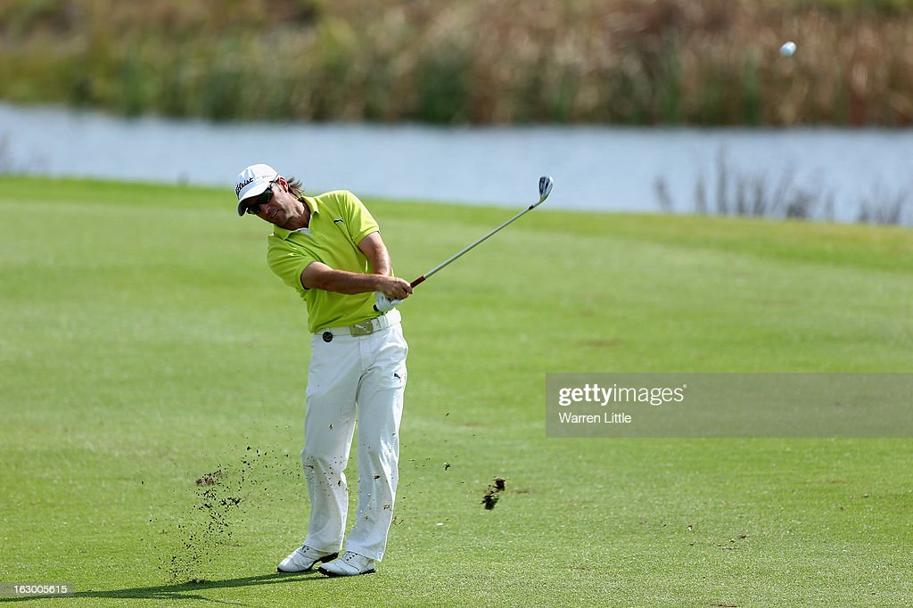 Mark Tullo of Chile plays his second shot into the 13th green during the final round of the Tshwane Open at Copperleaf Golf & Country Estate on March 3, 2013 in Centurion, South Africa.