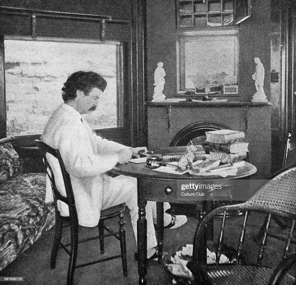 Mark Twain in his study at Quarry Farm Elmira New York where he began writing Tom Sawyer Mark Twain American author satirist lecturer 30 November...