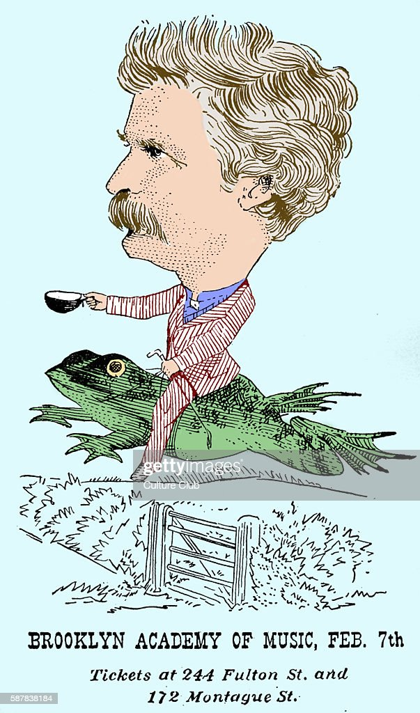 Mark Twain poster for talk at Brooklyn Academy of Music c 1869 Mark Twain American author satirist lecturer 30 November 1835 21 April 1910 Colourised...