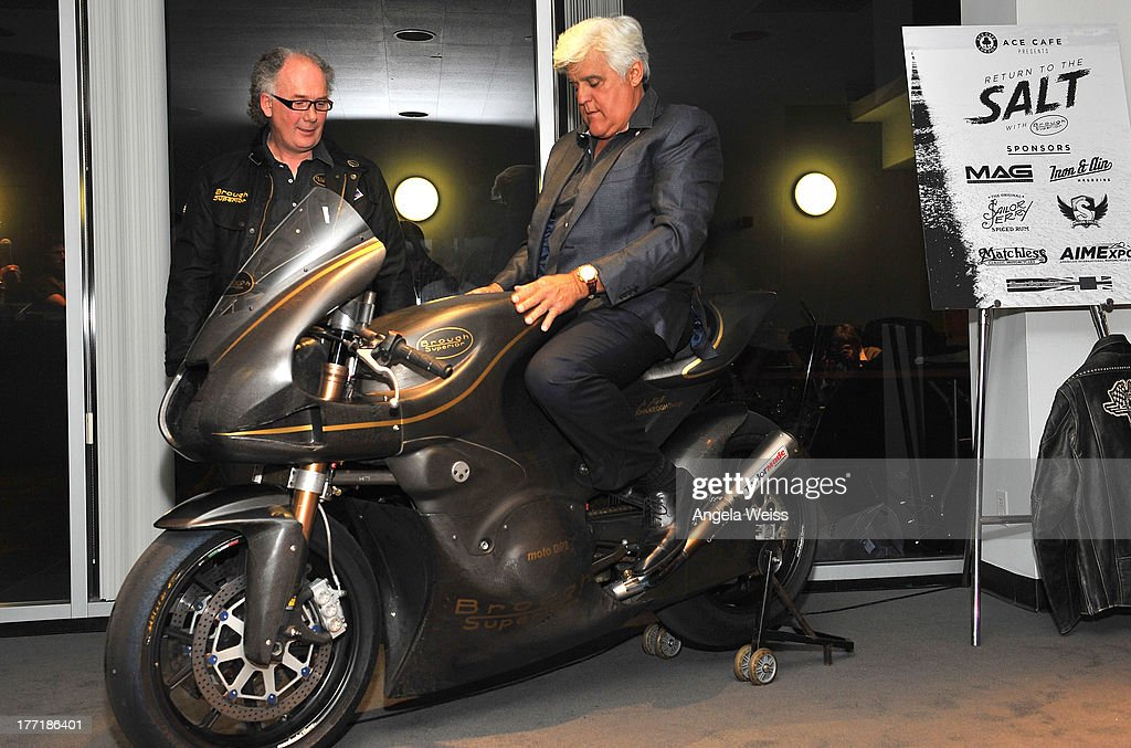Mark Upham (L) of Brough Superior and comedian Jay Leno attend Return to the Salt with Brough Superior hosted by Jay Leno presented by Matchless and Ace Cafe at the The Petersen Automotive Museum on August 21, 2013 in Los Angeles, California.