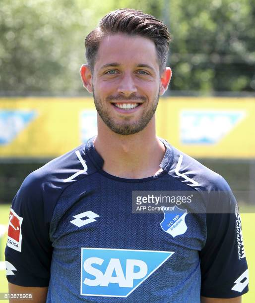 Mark Uth from German first division Bundesliga football team TSG 1899 Hoffenheim poses for a photo in Zuzenhausen near Heidelberg Germany on July 13...